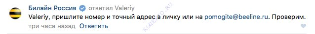 ответ специалиста билайн вконтакте