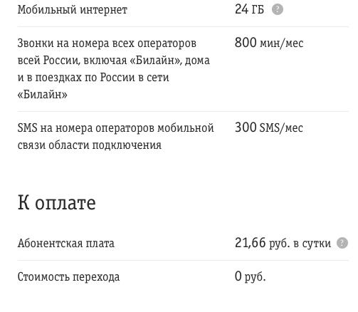 Описание тарифа ВСЁмоё 2